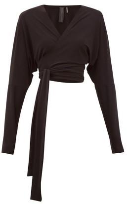 Norma Kamali Dolman-sleeve Stretch-jersey Wrap Top - Womens - Black