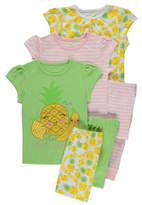 George 3 Pack Pineapple Pyjamas