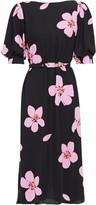 Kate Spade Belted Floral-print Cady Midi Dress