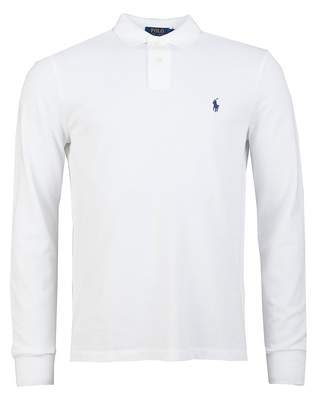 Polo Ralph Lauren Long Sleeved Custom Fit Mesh Polo Colour: WHITE, Siz