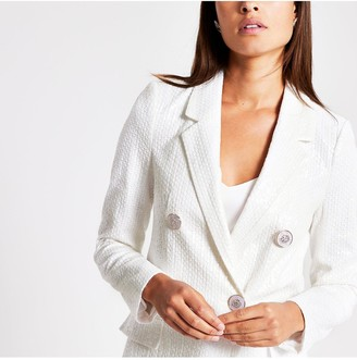 River Island Sequin Blazer - White