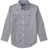 Ralph Lauren Long-Sleeve Glen Plaid Poplin Shirt, Black/White, Size 2-7