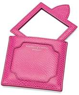 Aspinal of London Marylebone Compact Mirror In Raspberry Lizard