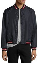 Moncler Dubost Bomber Jacket with Varsity Stripes, Dark Blue