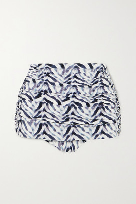 Norma Kamali Bill Ruched Zebra-print Bikini Briefs - Zebra print