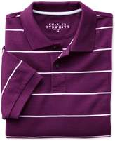 Charles Tyrwhitt Purple and White Stripe Pique Cotton Polo Size Large