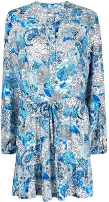 Melissa Odabash Printed Long-Sleeved Mini Dress