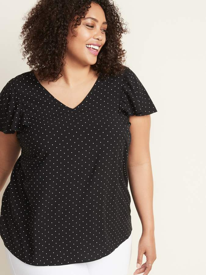 Old Navy Ruffle-Sleeve Plus-Size V-Neck Top