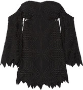 Jonathan Simkhai Off-the-shoulder guipure lace and crepe top