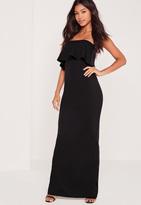 Missguided Bandeau Frill Maxi Dress Black