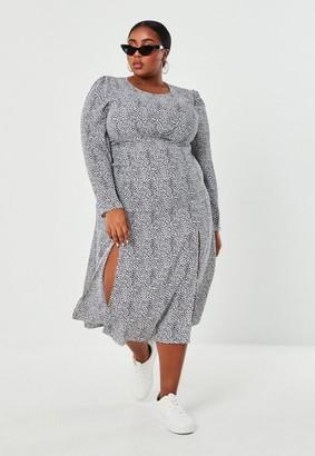 Missguided Plus Size White Dalmatian Print Smock Dress