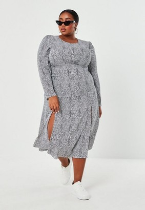 Missguided Size White Dalmatian Print Smock Dress