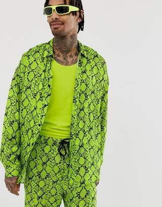 Jaded London satin shirt in neon green snakeskin