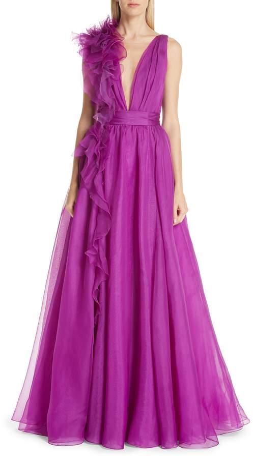 Marchesa Ruffle Silk Organza Evening Dress
