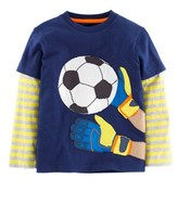 Boden Boys' Sports Navy Football Tee.