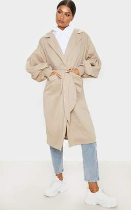 PrettyLittleThing Taupe Balloon Sleeve Tie Waist Trench