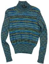 M Missoni Blue & Green Knit Striped Turtleneck Sweater