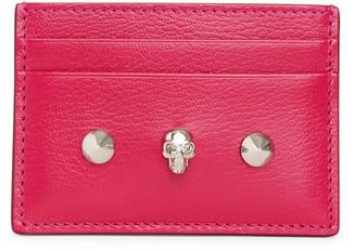 Alexander McQueen Pink skull and stud card holder