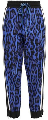 Just Cavalli Striped Leopard-print Crepe Track Pants