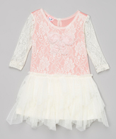 Little Mass Ivory & Coral Floral Lace Dress - Infant & Toddler