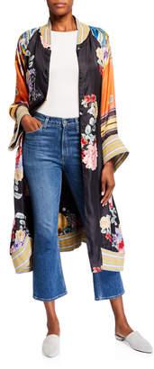 Johnny Was Fiori Reversible Floral Print Button-Front Long Silk Kimono Coat