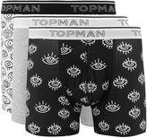 Topman Black and White Eyes Trunks 3 Pack*