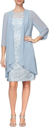 Alex Evenings Sequin Lace Sheath Dress & Chiffon Jacket