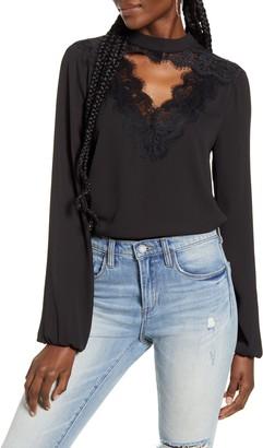 WAYF Eyelash Lace Keyhole Cutout Long Sleeve Top