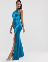 Bariano halter neck liquid draped gown in teal