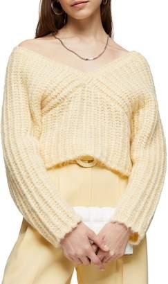 Topshop V-Neck Fluffy Cropped Sweater