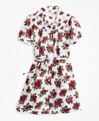 Brooks Brothers Girls Cotton Sateen Floral Print Dress