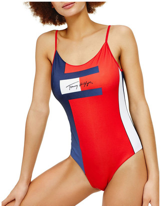 Tommy Hilfiger Colour-Blocked Signature One-Piece Swimsuit