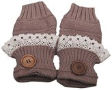 LUNIWEI Thick Knitting Button Lace Trim Fingerless Mittens Wrist Gloves