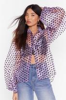 Womens Spot Enough Drama Oragaza Balloon Sleeve Shirt - purple - M