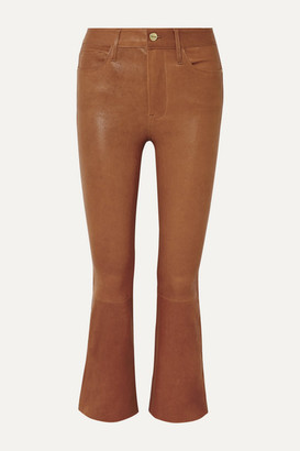 Frame Le Crop Mini Boot Leather Pants - Light brown