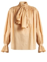 Vika Gazinskaya Tie-neck cotton-poplin blouse