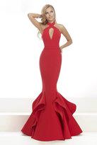 Janique - Sleeveless Halter Neck Ruffled Mermaid Long Gown JA3003