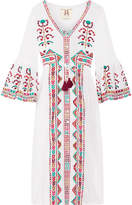 Figue Minette Embroidered Cotton-voile Midi Dress - White