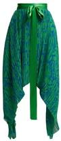 Preen by Thornton Bregazzi Maria Pleated Georgette Midi Skirt - Womens - Green Multi