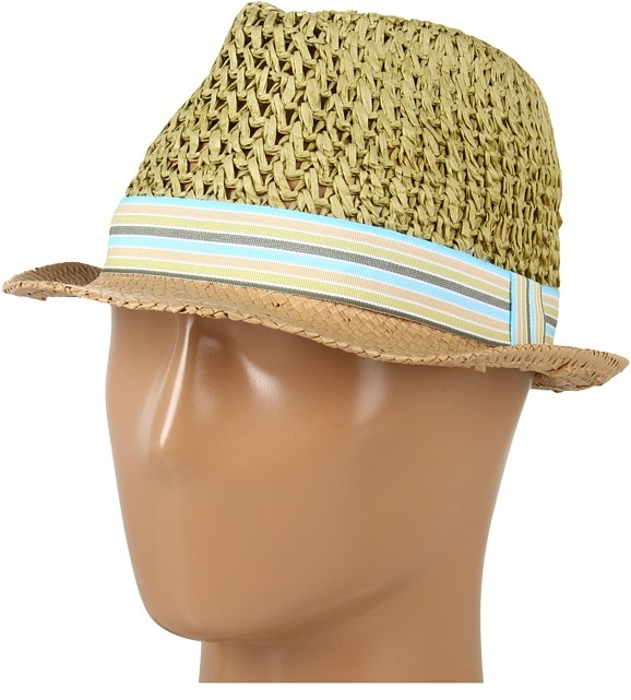 BCBGeneration Color Block Crochet Fedora (Terracotta) - Hats