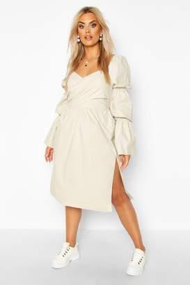 boohoo Plus Volume Sleeve Wrap Front Maxi Dress