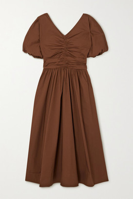 STAUD Greta Ruched Pleated Cotton-blend Poplin Dress - Brown