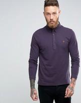Farah Slim Pique Long Sleeve Polo Buttondown in Purple
