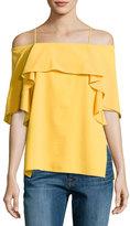 Halston Flowy Cold-Shoulder Top, Marigold