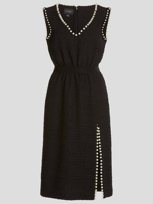 Giambattista Valli Sleeveless Lurex Tweed Pearl Trim Midi Dress With Slit