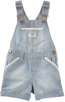 Osh Kosh Baby Girl Hickory Stripe Cuffed Denim Shortalls
