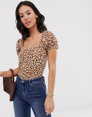 Free People no type leopard print puff sleeve top-Brown