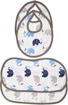 Bacati Elephants Muslin 4 Piece Set of Burpies or Bibs