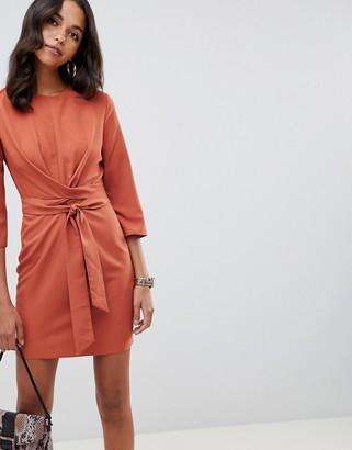 Asos Design DESIGN tie wrap around mini dress-Red