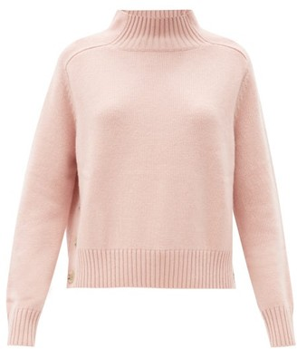 Allude Buttoned-side Wool-blend Sweater - Pink